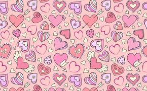 Картинка фон, розовый, сердечки