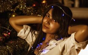 Картинка lights, girl, beautiful, look, pose, Christmas tree, Kide Fotoart