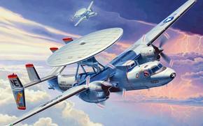 Картинка Hawkeye, Grumman, ВМС США, ДРЛ, АВАКС, E-2C, дальнего радиолокационного обнаружения, американский палубный самолёт