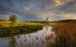 Картинка закат, природа, река, церковь, Россия, Владимирская область