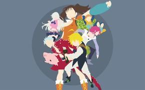 Картинка фон, девушки, минимализм, парни, персонажи, Nanatsu no Taizai, Семь смертных грехов