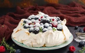 Картинка ягоды, торт, крем, сахарная пудра, безе