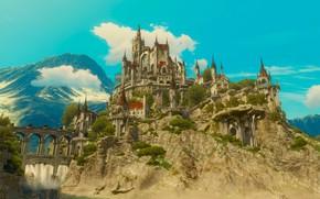 Картинка мост, река, ведьмак, дворец