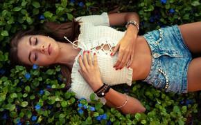 Картинка трава, листья, украшения, цветы, секси, поза, модель, шорты, макияж, фигура, прическа, лежит, блузка, шатенка, красотка, …