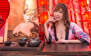 Картинка девушка, чаепитие, кимоно, азиатка, церемония