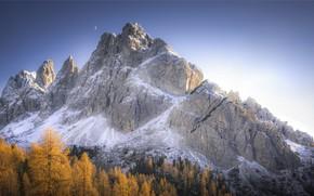 Картинка осень, небо, природа, рассвет, гора, месяц, утро