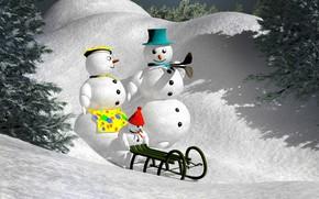 Картинка зима, лес, свет, снег, ветки, рендеринг, праздник, ребенок, шляпа, ели, склон, малыш, семья, Рождество, сугробы, …