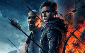 Обои фон, огонь, дым, лук, крепость, стрелы, приключения, постер, Robin Hood, Jamie Foxx, Джейми Фокс, Taron ...