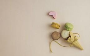 Картинка лента, macarons, вафельный рожок