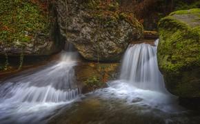 Картинка вода, камни, растительность, водопад, мох, поток, водопады, валуны