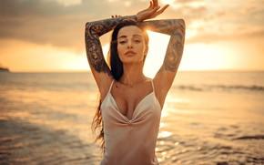 Картинка море, взгляд, девушка, закат, поза, руки, тату, Евгений Фрейер