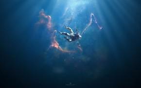 Картинка Туманность, Астронавт, Космонавт, Fantasy, Арт, Space, Art, Water, Фантастика, Nebula, Ситуация, Surreal, Down, Science Fiction, …