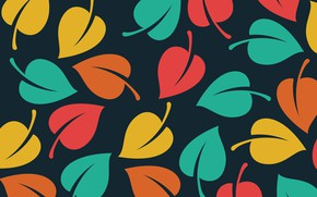 Обои текстура, листочки, черный фон, Vector, Background, Leaves, Pattern
