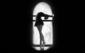 Картинка Девушка, Минимализм, Рисунок, Окно, Танец, Фон, Арт, Балерина, Francis Law, by Francis Law