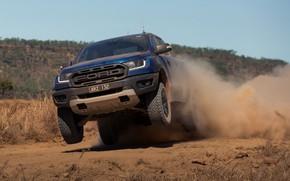 Картинка синий, прыжок, Ford, пыль, Raptor, пикап, 2018, Ranger