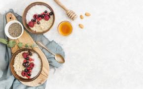 Картинка ягоды, завтрак, мед, фрукты, хлопья