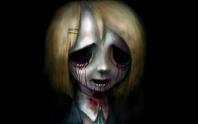 Картинка зомби, зло, ужас, нежить, кровавые слезы, в темноте, ночной кошмар, Yui Hirasawa, K-ON!, лёгкая музыка, …