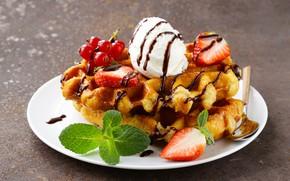 Картинка ягоды, шоколад, мороженое, десерт, вафли