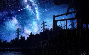 Картинка ночь, озеро, падающие звезды, небо, лэп