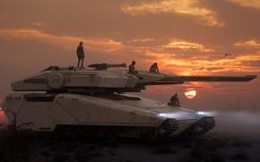Картинка Закат, Солнце, Солдаты, Арт, Танк, Art, Game, Tank, Транспорт, Star Citizen, Экипаж, Crusader, Science Fiction, …