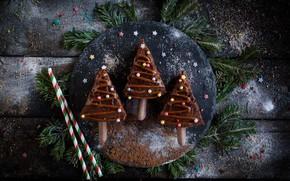 Картинка фото, Шоколад, Доски, Новый год, Елка, Сладости, Еда