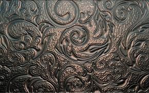 Картинка металл, фон, текстура, орнамент, тиснение, чеканка, бронзовый блеск, узор по металлу