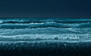 Картинка море, волны, вода, брызги, темный, горизонт