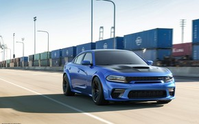 Картинка Авто, Синий, Машина, Car, Автомобиль, Render, Dodge Charger, Hellcat, Рендеринг, SRT, Спорткар, Контейнера, Синий цвет, …