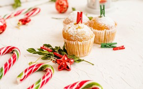 Картинка еда, празник, кекс, кексы, пудра, рождевство