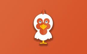 Картинка minimalism, bird, animal, funny, digital art, artwork, cute, simple background, orange background, Chicken