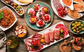 Картинка сыр, оливки, колбаса, оливковое масло, чиабатта, деликатес