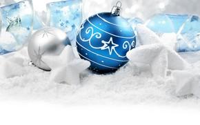 Картинка снег, украшения, праздник, шары, игрушки, новый год, звёздочки, ленточка, боке