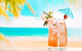 Картинка лед, море, лето, отдых, напиток, лимонад, свежий