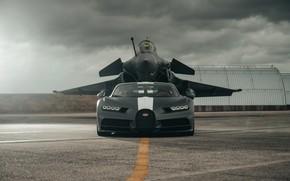 Картинка bugatti, clouds, Dassault Rafale, chiron