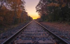Картинка закат, природа, железная дорога