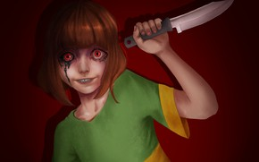 Картинка кровь, нож, безумие, Undertale, Chara