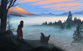 Картинка Девушка, Горы, Туман, Гора, Лес, Girl, Рассвет, Пейзаж, Landscape, Mountain, Dawn, Illustration, Fog, Forest, Иллюстрация, …