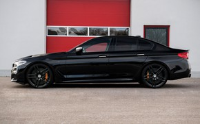 Картинка чёрный, BMW, профиль, седан, G-Power, 2018, 5er, 5-series, G30, M550i