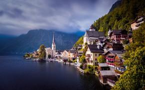 Картинка вода, озеро, дома, Австрия, Austria, Hallstatt, Гальштатское озеро, Гальштат, Lake Hallstatt, Халльштатт