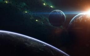 Картинка Звезды, Планета, Космос, Туманность, Звезда, Свет, Планеты, Light, Planets, Star, Арт, Stars, Space, Блик, Art, …