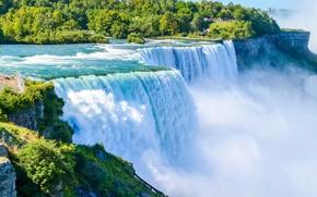 Картинка стихия, водопад, поток, Ниагара, США