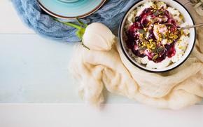 Картинка ягоды, завтрак, творог, йогурт
