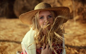 Картинка девушка, улыбка, колосья, Анастасия Сластникова