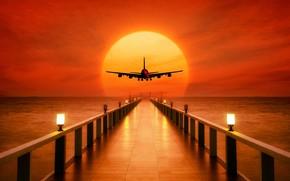 Картинка море, небо, солнце, закат, огни, горизонт, силуэт, фонари, пирс, зарево, самолёт