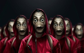 Картинка люди, маска, сериал, маски, TV series, La Casa de Papel, Бумажный дом, Money Heist