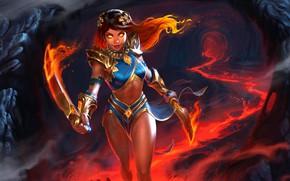 Обои взгляд, девушка, оружие, огонь, фэнтези, арт, лава, наступление