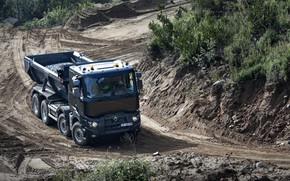 Картинка следы, земля, Renault, кузов, порода, самосвал, четырёхосный, Renault Trucks, K-series