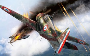 Картинка art, airplane, aviation, ww2, Bloch MB.150