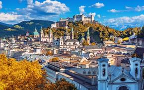 Картинка горы, дома, Австрия, панорама, Зальцбург