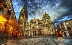 Картинка небо, HDR, вечер, площадь, собор, Испания, Spain, Catedral de Santa Maria